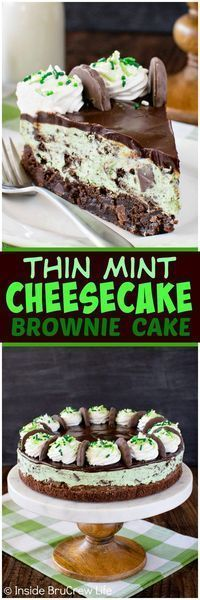 Thin Mint Cheesecake Brownie Cake - layers of chocolate, no bake mint cookie cheesecake, and chewy mint brownies make this a fun cake to make. Great dessert recipe for any party! (No Bake Chocolate Desserts) Brownie Desserts, Brownie Cake, Great Desserts, Mini Desserts, Chocolate Desserts, Delicious Desserts, Yummy Treats, Sweet Treats, Dessert Recipes