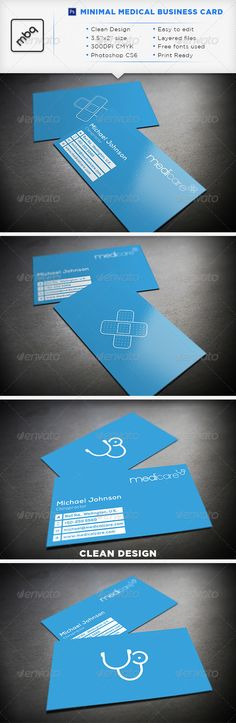 Minimal Medical Business Card.  #GraphicRiver           	    Minimal Medical Business Card.  Fully editable .psd files.  Links to the fonts used are included in the readme file.(all free fonts)  The font used in the item preview is Gotham.   	    3.75in x 2.25in (including 0.25in bleed)  300 DPI   CMYK   Easy to edit  Ready for print  Photoshop CS6 PSD