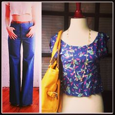 Throwback! We're bringing back bell bottoms. Pair them with a fun patterned crop top ($42), long gold necklace ($38) and bright handbag ($120) and put some 70's in your 2013 style.