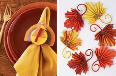 Better Homes and Gardens has the tutorial for the gorgeous folded paper leaf decorations- so pretty!