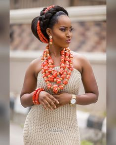 My hairstyle for Esther's wedding African Traditional Wedding, African Traditional Dresses, African Inspired Fashion, Africa Fashion, African Beauty, African Women, Igbo Bride, Nigerian Weddings, African Weddings
