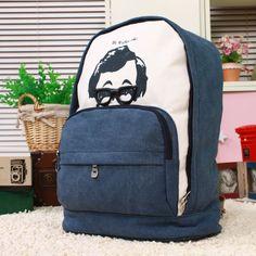 School bag backpack female backpack female double-shoulder preppy style glasses casual canvas women's handbag