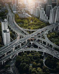 Shanghai, China by Tim W - Moja strona Highway Road, Bridge Design, Winding Road, Futuristic Architecture, Bridges Architecture, Birds Eye View, Aerial Photography, Shanghai, Beijing