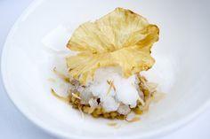 Piña colada: piña caramelizada, sorbete de agua de coco, coco tostado y flor de piña crujiente