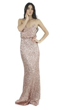 Badgley Mischka Vestido rosa palo de lentejuelas, Queta