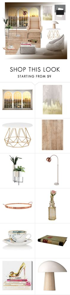 """Interiors"" by gagenna ❤ liked on Polyvore featuring interior, interiors, interior design, home, home decor, interior decorating, Oliver Gal Artist Co., Pottery Barn, Cultural Intrigue and Hermès"