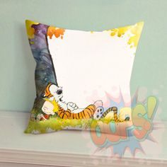 """Calvin And Hobbes Under Tree - Pillow Case 18"""" x 18"""" inches - Only Pillow Cover by Oopsss on Etsy"""