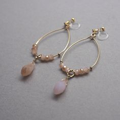 Feminine pink beads and gold hoop invisible clip on earrings  Perfect earrings for date! ❤️