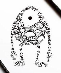 Mike Wazowski Monsters Inc Doodle Art Cute Doodle Art, Doodle Art Drawing, Girl Drawing Sketches, Cute Doodles, Drawing Ideas, Graffiti Doodles, Black And White Drawing, Mandala Design, Illustrators