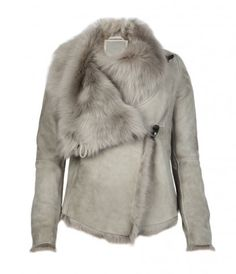 Leather jackets for women, shop now. Shearling Jacket, Fur Jacket, Leather Jacket, Peplum Jacket, Brown Jacket, Gray Jacket, Fur Fashion, Winter Fashion, Star Wars Outfits