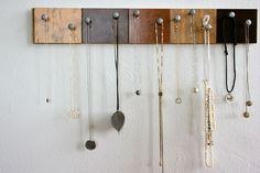 DIY Necklace Holder — made of floor samples, wood glue, and screws