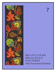 Bead Loom Vintage Floral Border 5, 6, 7 Multi-Color Bracelet Patterns PDF