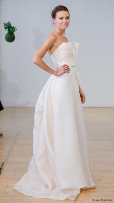carol hannah 2017 bridal strapless straight across crumb catcher neckline simple modern a  line wedding dress sweep train (rosea) sdv