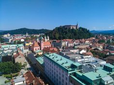 The view from the Skyscraper on beautiful Ljublkana, Slovenia and its castle