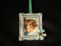 PICTURE FRAME #1 Miniature BLUE ANGEL Lil Girl Christmas Ornament OOAK Handmade  (seller I.D. elina133)
