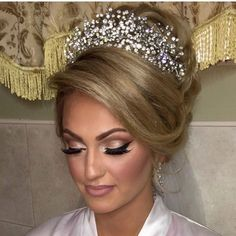Beautiful Tina hair by me makeup by @makeup_by_nicolette headpiece by @bridalstylesboutique