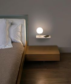 Faro Barcelona Niko Touch LED Right Bedside Light with USB and Wireless Charging - White - Lyco Usb, Shine The Light, Bedside Lighting, Led Wall Lights, Glass Diffuser, White Light, Modern Lighting, Floating Nightstand, Floor Lamp