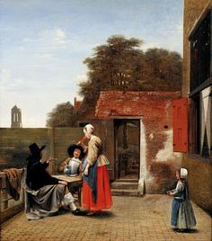 Pieter de Hooch- A Dutch Coutyard.  What I love about these paintings of the Delft School is the everyday situations they depict. Seemingly unimportant ones but, how beautiful they are and how much they teach us about life in the 17 C in Holland (or the Dutch land).