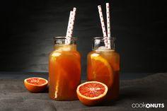 Orangen Vanille Eistee, Rezept, Eistee, selbstgemacht, homemade, selber machen, Orange, Drink, Getränk, Cookonuts Hot Sauce Bottles, Orange, Recipes, Food, Vanilla, Recipies, Juice, Homemade, Diy