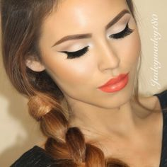 Her make-up looks flawless, love the coral lipstick! I gotta try doing my make-up like this. Gorgeous Makeup, Pretty Makeup, Love Makeup, Makeup Inspo, Makeup Inspiration, Makeup Tips, Makeup Ideas, Flawless Makeup, Perfect Makeup