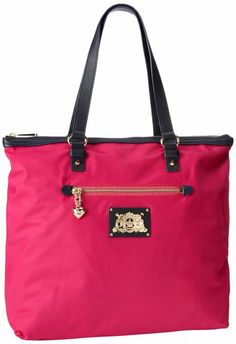 61ae7be53 Juicy Couture Penny Nylon Zip Top Tote Travel Tote,HOT PINK,One Size  Shoulder strap length: Small exterior front zipper pocket Includes interior  back wall ...