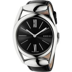 Gucci Horsebit Stainless Steel & Leather Strap Watch/Black (22.945 CZK) ❤ liked on Polyvore featuring jewelry, watches, apparel & accessories, buckle watches, quartz movement watches, polish jewelry, stainless steel wrist watch and buckle jewelry