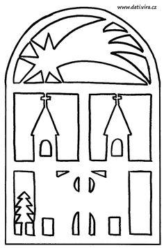 Vystřihovánka do okna 6 - hvězda s kostelem 2 / Kutění a bastlení před Vánoci / Vánoce | Pastorace.cz