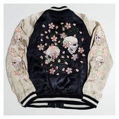 Vintage Japanese Script Skull Cherry Blossoms Sakura Punk Rock... ❤ liked on Polyvore featuring outerwear, jackets, embroidery jackets, blue jackets, embroidered jacket, punk jacket and punk rock jacket