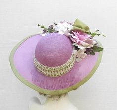 Garden Tea Party Hat in Shabby Chic Lilac Flowers Lace   creationsbygail - Accessories on ArtFire