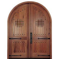 MAI Doors A80S-RT Alpine  Full Radius Top Rail 2-Panel Double Entry Doors in Walnut