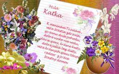 Milá Katka  K meninám Ti želám veľa šťastia, zdravia,  správnu duše pohodu, dobré vínko, nie vodu, vtáčie spevy, krásne kvety, dobré jedlá bez diéty, veľa krásnych spevu tónov, radosť z práce, šťastný domov
