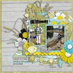 Jonah had fun fishing while they were on vacation last year. I used HERE FISHY FISHY from HOT FLASH DESIGNS found here: http://scrapbird.com/designers-c-73/d-j-c-73_515/hotflashdesigns-c-73_515_558/here-fishyfishy-p-16582.html and the matching word art found here:  http://scrapbird.com/designers-c-73/d-j-c-73_515/hotflashdesigns-c-73_515_558/here-fishyfishy-word-art-p-16581.html and a template from Aprilisa's Warm Wishes pack found here…