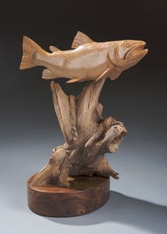 Fish Wood Carving, Chainsaw Wood Carving, Wood Carving Faces, Tree Carving, Wood Carving Patterns, Wooden Fish, Wooden Art, Fish Sculpture, Wood Sculpture