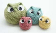 knot•sew•cute design shop: new crochet pattern - chubby owl family by tara schreyer.
