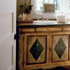 Palmetto Preserve | Guest Bath Vanity | image from Coastal Living. British Colonial, West Indies inspired design.