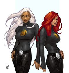 Jean Grey and Storm by Adam Hughes