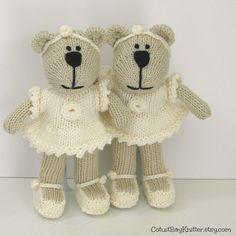 Flower Girl Gift  Hand Knitted Bear by cotuitbayknitter