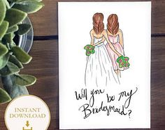 PDF Bridesmaid drawing - Brunette Bride with Brunette Bridesmaid - will you be my bridesmaid? Bridesmaid proposal illustration