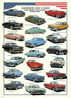 American Cars of the Fifties. Over 20 of the most popular American of the 1950s are featured in this jigsaw puzzle.