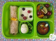 Healthy little bento lunchbox. Goodbyn Hero box, wrap band, egg shaper, food picks and silicone cup all available in New Zealand from www.thelunchboxqueen.co.nz