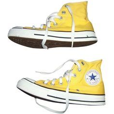 Cloth trainers CONVERSE ($25) ❤ liked on Polyvore featuring shoes, sneakers, converse footwear, yellow sneakers, yellow shoes, converse sneakers and converse shoes
