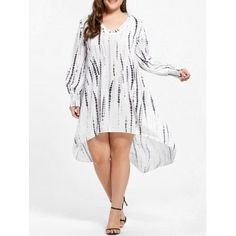 Plus Size Ruffle V-neck High Low Dress