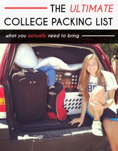 Packing is stressful. But nothing is more stressful than putting together a college packing list, especially for your freshman year. It is inevitable that you will over-pack for your first semester of freshman yea College Dorm Checklist, College Packing Lists, College Dorm Essentials, College List, College Planning, College Board, College Fun, College Hacks, College Dorms
