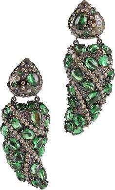 ARUNASHI Tsavorite and Diamond Drop Earrings | thestylecure.com