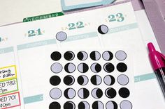 36 Phases of the Moon Stickers! Perfect for your Erin Condren Life Planner, Filofax, Plum Paper & other planner or scrapbooking!