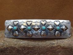 Native-American-Jewelry-Sterling-Silver-Turquoise-Stamped-Hair-Barrette