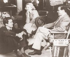 James Stewart, Jean Arthur & Frank Capra on the set.