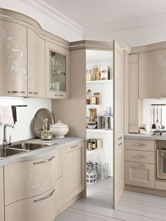 kitchen pantry cabinets Prestige kitchen in Tortora with Swarovski crystal inlay in cabinet frames, handles and crown molding Kitchen Pantry Design, Kitchen Pantry Cabinets, Modern Kitchen Design, Home Decor Kitchen, Interior Design Kitchen, Home Kitchens, Corner Kitchen Pantry, Corner Pantry Cabinet, Kitchen Cabinets For Corners