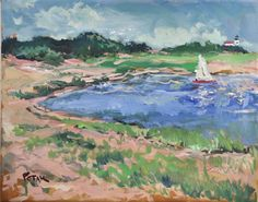 Seascape Sailboat Painting Impressionist Art by PaintingsByPotak, $250.00