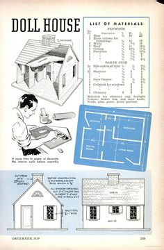 Construction plans for Cape Cod style dollhouse.  Popular Science (1939) - pg 169